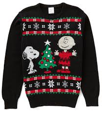 peanuts brown and snoopy sound box sweater
