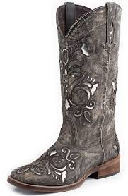 womens square toe boots size 12 womens silver underlay square toe cowboy boots brown sanded