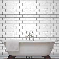 Tile Wallpaper Decor Subway Tile Effect Wallpaper Black White Available