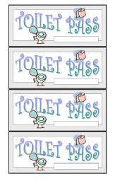 Printable Bathroom Passes Worksheet Toilet Pass