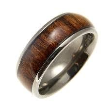 wood inlay wedding band hawaiian koa wood inlaid men s titanium domed wedding band