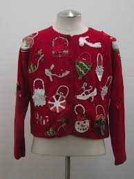 womens ugly christmas sweater michael simon womens red white