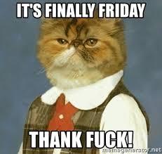 Thank Fuck Its Friday Meme - it s finally friday thank fuck cat 66 meme generator