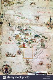 Central And South America Map by French Map Of Central And South America French 1550 Stock Photo