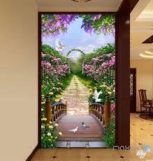 3d flowers garden bridge arch corridor entrance wall mural decals
