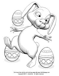 bunny rabbit and easter eggs free coloring pages for kids