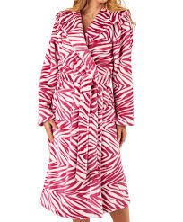 womens slenderella zebra print hooded dressing gown ladies soft