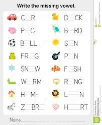 write the missing vowel worksheet for education stock vector