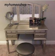 Vanity Folding Mirror Vanity Table Dressing Room Mirror Silver Dresser Bathroom Desk