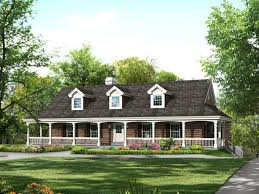 what type material one story country house plans with wrap around