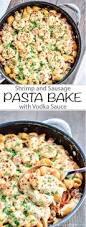 shrimp and sausage skillet pasta bake with vodka sauce