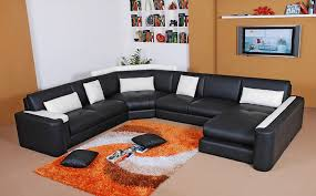 interesting black sectional leather sofa with elegant black