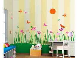 sweet kids room paint ideas with grey white striped and green wall