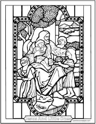 jesus and the little children coloring page