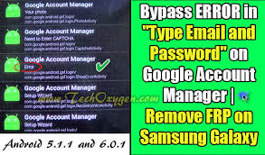 how to bypass android password error in type email and password on account manager