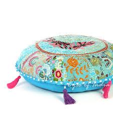 light blue round decorative seating boho floor cushion bohemian