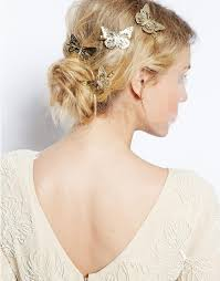 barrette hair 2015 bling golden butterfly hair clip headband gold hollow out bow