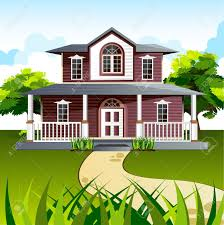 illustration of front view of house in natural background royalty