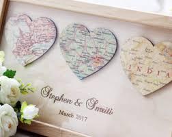 newlywed gift personalised map etsy