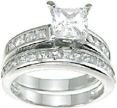 wedding band sets princess cut white cz wedding band engagement ring set