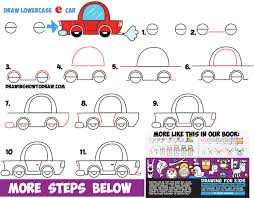 kid car drawing how to draw a cartoon car from lowercase letter e shapes easy
