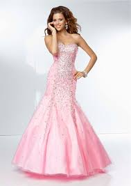 mermaid sweetheart neckline long pink tulle beaded prom dress