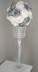 silver centerpieces silver and white flower wedding centerpiece