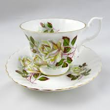 royal albert tea cup and saucer with white roses vintage bone china