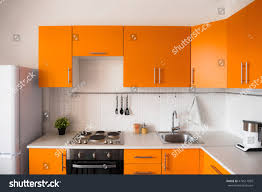 design kitchen set orange kitchen set modern style stock photo 474511099 shutterstock