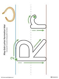 letter formation play doh mat letter r printable color