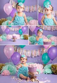 1 year old baby cake smash lavender purple aqua teal gold