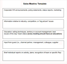 sales team report template sales meeting agenda 7 free for pdf word