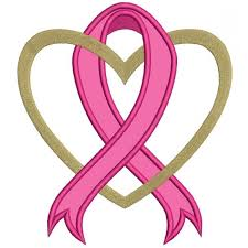 cancer awareness ribbon with applique machine embroidery