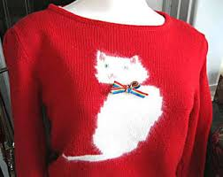 vintage cat sweater etsy