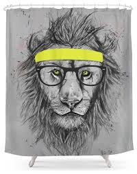 society6 hipster lion shower curtain contemporary shower