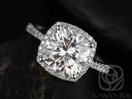 diamond halo rings images Rosados box barra 9x9mm white gold cushion f1 moissanite cushion jpg