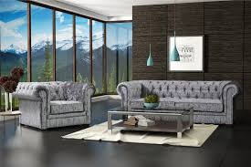 original chesterfield sofas new silver grey luxury crushed velvet chesterfield 3 1 1 seater
