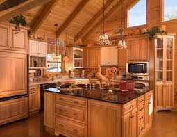 Log Home Kitchen Cabinets Classic Log Home Kitchen Design By Curtain Set Kitchen Cabinets