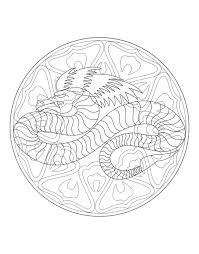 free mandala coloring representing dragon download