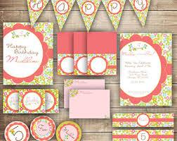 secret garden party shabby chic girls birthday printable