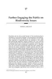 17 further engaging the public on biodiversity issues peter j