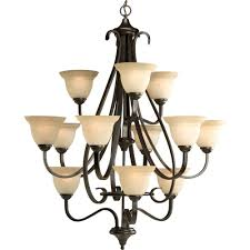 12 Light Chandeliers Progress Lighting Torino Collection 12 Light Forged Bronze