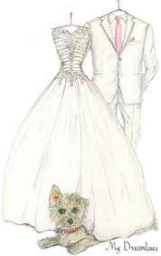 Wedding Gift To Wife Sketch Of Wedding Dress Suit U0026 Pet One Year Anniversary Gift