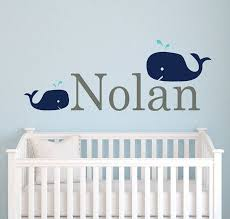 Whale Name Decal Boy Nursery Decal Baby Name Decal Nautical