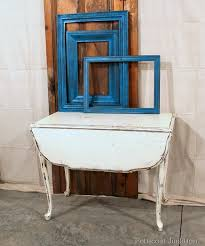 White Drop Leaf Table And Chairs Vintage White Drop Leaf Table And Turquoise Spray Painted Frames