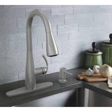moen kitchen faucet with soap dispenser moen essie single handle pull sprayer kitchen faucet with