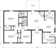 2 Bedroom House Floor Plan 2 Bedroom House Plans 1000 Square Feet 1000 Square Feet 2