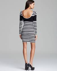 guess dress knit stripe in black lyst
