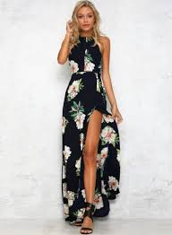 halter neck women s boho halter neck floral print maxi dress agathagarcia