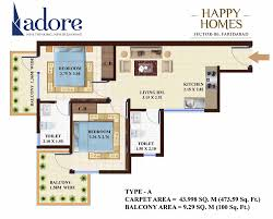 adore happy homes floor plan buy 2 bhk affordable flats